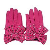 Ukamshop Frauen luxus Punk Nieten Bowknot PU Leder Handschuhe warme Winter Fäustlinge (hot pink)