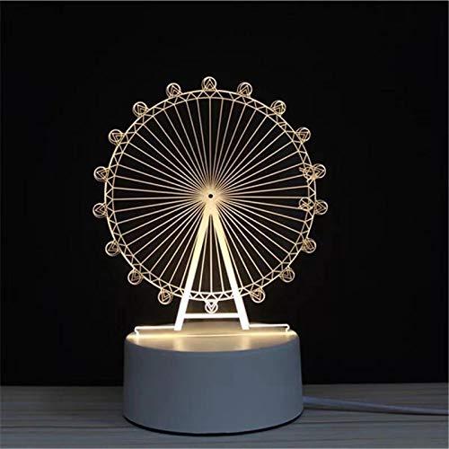 3D LED Lampe Nachtlicht - Optical Illusion Lampe Acryl mit USB-Kabeln Schlafzimmer Schreibtisch Tischdekoration Geschenk für Kinder Raum Dekor (Riesenrad) -
