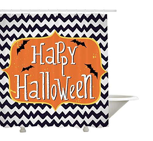 hvorhang,niedliche Halloween Grußkarte inspiriert Design Celebration Doodle Chevron,Stoff Badezimmer Dekor Set mit Haken,Indigo White Orange ()