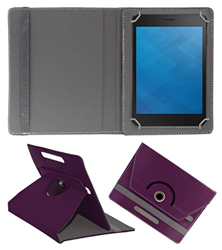 Acm Rotating 360° Leather Flip Case For Dell Venue 7 3741 Tablet Cover Stand Purple  available at amazon for Rs.149