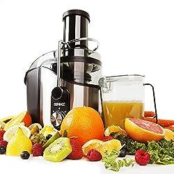 Duronic JE8 – Leistungsstarker Zentrifugen Entsafter/Saftpresse / Juicer für ganze Früchte (75mm Öffnung), 800 Watt, elektrisch – Inklusive Saftbehälter