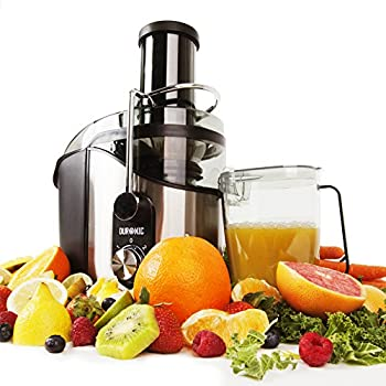 Duronic JE8 Centrifugeuse à jus de 800W en inox pour fruits et légumes entiers - Large ouverture de 75 mm et couvercle transparent