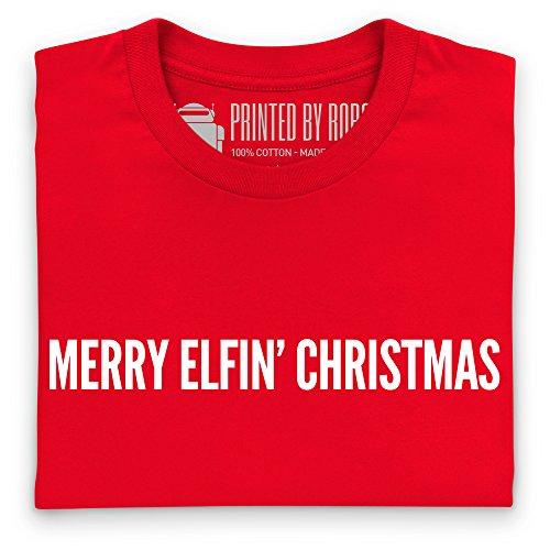 Merry Elfin Christmas T-Shirt, Herren Rot