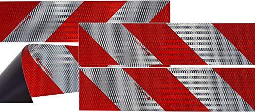 UvV® 3M Kfz Warnmarkierung für ein Kfz nach DIN 30710 Folie Typ 823i Komplettset mit 8 Normflächen (Rot-Weiß Magnet) Rot-auto-magnet