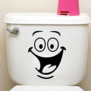 HENGSONG Emoji Smiley Face Toilet Lid Decals Wall Sticker Removable Art Decal Bathroom Home Decor, A
