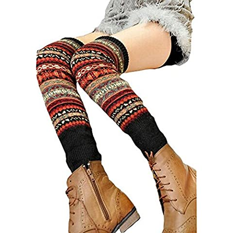 Qissy® Delle donne Fanshional Knit alta della coscia Stivaletti Calze (Style 9)