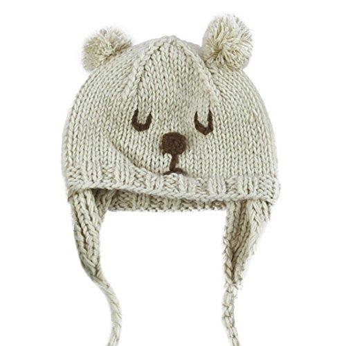 Baby Kind Handwerk gestrickt warm Caps, Hirolan Halloween Dekoration,Kleinkind Elastizität Bären Muster Beanie Hüte (6M-3Years, beige)