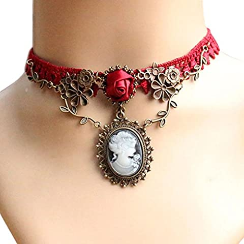 Familizo Women Stylish Cameo Red Rose Lace Fashion Necklace Jewelry Women Gift Pendant