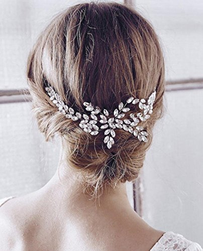 Aukmla -  Pettinino/fermaglio da sposa con perline, attraente accessorio per capelli per spose e damigelle (colore argento)