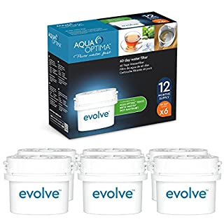 Aqua Optima Evolve 12 month pack, 6 x 60 day water filters - Fit BRITA* Maxtra* (not Maxtra+*)  - EVD602