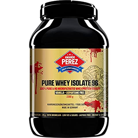 Pure Whey Protein Isolate 96 - mikrofiltriert Whey Protein - 2200 g - Vanille (96 Natural)