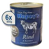 Hopey's Nassfutter Rindfleisch für Hunde, Hundefutter mit Hohem Fleischanteil 6X 850g Dosen