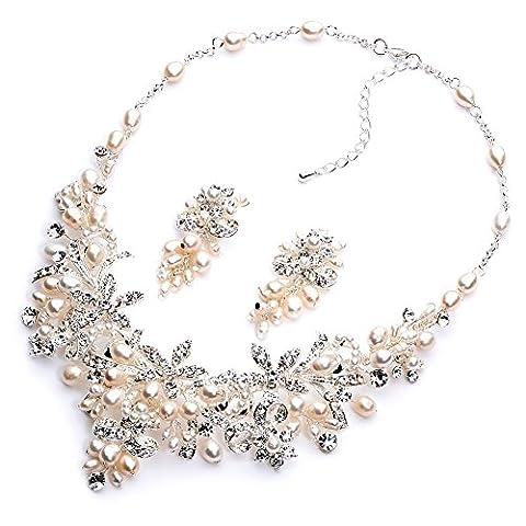 Usabride Strass et perles d'eau douce de mariage Ensemble de bijoux, collier plaqué argent et boucles d'oreilles 1636