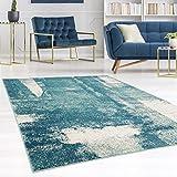 carpet city Teppich Modern Designer Wohnzimmer Inspiration Arte Vintage Meliert Pastel-Blau Creme Größe 80/300 cm