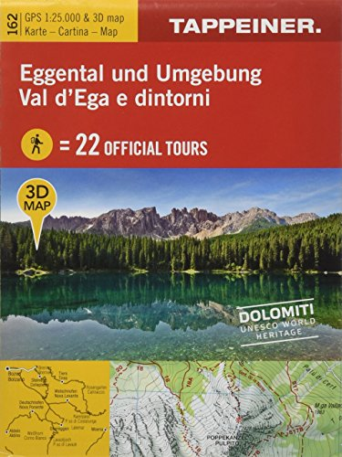 3D-Wanderkarte Eggental und Umgebung 1 : 25 000: Cartina escursionistica 3D Val d'ega e dintorni [Lingua inglese]