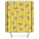 HUIYIYANG Kundenspezifischer Duschvorhang, Tiere Buntes Häschen auf Gelbem Hintergrund wasserdichtem Anti Mehltau Gewebe Polyester Badezimmer Duschvorhang 36