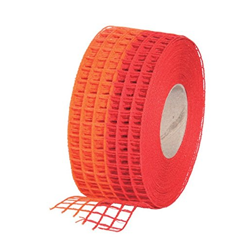 Gitterband 10m x 4,5cm (verschiedene Farben) Juteband Schleifenband Geschenkband Jute Deko Schleife Band - Basteln, Dekorieren,Gestalten, Floristik (Rot/Orange)