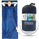 MIQIO 2in1 Hüttenschlafsack mit durchgängigem Reißverschluss : Leichter Komfort Reiseschlafsack und XL Reisedecke in Einem - Sommerschlafsack Innenschlafsack Inlett Inlay