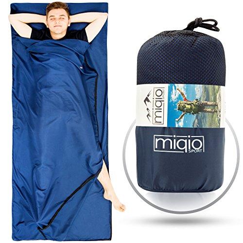MIQIO® Hüttenschlafsack 2in1 mit durchgängigem Reißverschluss  Reiseschlafsack (90 x220cm) und Reisedecke (Travel-Sheet) in Doppelbettgröße (180x220cm) in Einem   Innen-Schlafsack Inlett /Inlay