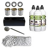 3 latas de combustible en hojalata 0,25 l + placas ahorra-combustible + soporte para latas + bioetanol líquido + piedras decorativas + apagador de lla