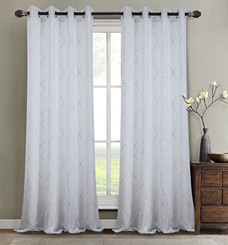 RT Designer Kollektion Crescent 142,2x 213,4cm. Gefüttert Tülle Vorhang, bestickt, Weiß - Crescent-kollektion