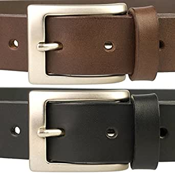 Mens Quality Leather Belt Made in UK, Brown, 30-34, S