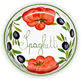 Lashuma handgemachte Nudelschüssel aus Italienischer Keramik im Tomaten Oliven Design, Runde Pastaschüssel ca. 22 cm, ca. 3 cm tief