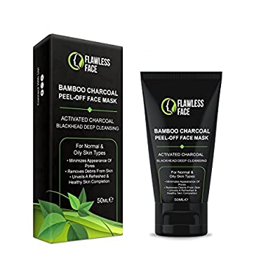Black Mask Blackhead Remover - Purifying Deep Cleansing Peel Off Bamboo Natural Activated Charcoal Face Mud, Clear Oily Skin, Wrinkles, Acne, Large Pores Flawless Face - 50ml (1.69oz) -FREE P&P UK by Flawless Face