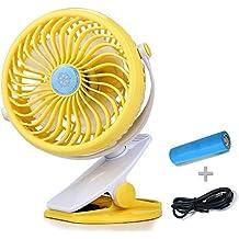 Mini USB Clip Scrivania Ventilatore- Tranquillo clip sopra Ventilatore per bambino Passeggino e Scrivania con ricaricabile batteria