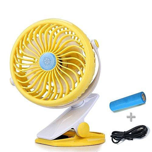 Preisvergleich Produktbild Mini USB Klipp Schreibtisch Fan- Quiet Clip auf Ventilator für Baby Kinderwagen und Schreibtisch mit Wiederaufladbare Batterie