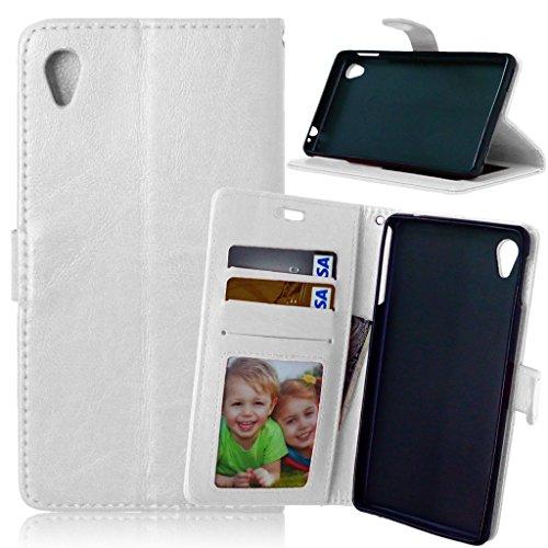Fubaoda Xperia M4 Aqua Hülle,[Kostenlos Syncwire Ladekabel] Flip Leder Money Karte Slot Brieftasche,Ständer,Handyhülle Ledertasche Phone Tasche Hülle für Sony Xperia M4 Aqua(E2303 E2333 E2353)(Weiß)