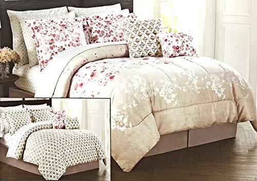 12-teiliges Queen-Bett-Ensemble-Bett-Set mit hellbraunen und pinken Blumen-Designs, inkl. 1 Wendebettwäsche, Kissenbezüge, Bettrock, 4-teiliges Wendebettlaken-Set & 2 Dekokissen, 100% Polyester