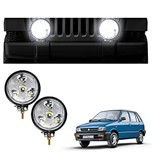 Vheelocityin 5 Inch 4 LED Car Light Fog Lamp Auxiliary Lamp Light - set of 2 For Maruti 800