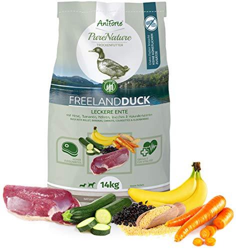 s Hunde-Futter Trockenfutter Free-Land-Duck 14kg - Leckere Ente 100% Natur für Allergiker, Glutenfrei, Birnen, Bananen, Möhre, Ohne Chemie, künstliche Zusätze & Vitamine ()