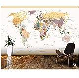 Cczxfcc Kundenspezifisches Kinderwandgemälde Politische Weltkarte-Weinlese-Farben Wandbilder Der Karikatur 3D Für Wohnzimmer-Vinylwandgemälde Der Kinder-350Cmx245Cm