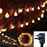 Bedroom Garden 10M Safe Voltage Ball LED Fairy Lights Plug In Twinkle 8 Modes Transparent String Cable Decorative Light for Indoor, Outdoor, Patio, Party, Wedding (Warm White)