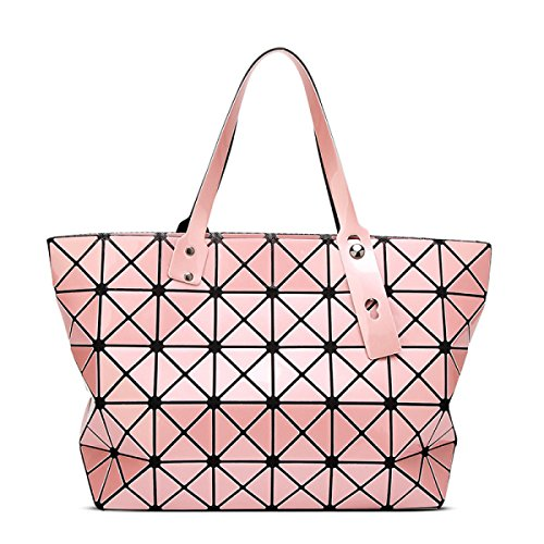 Strawberryer Sacs à bandoulière en cuir femmes Sacs à main géométriques Pliage en sac fourre-tout,Pink-43*28cm