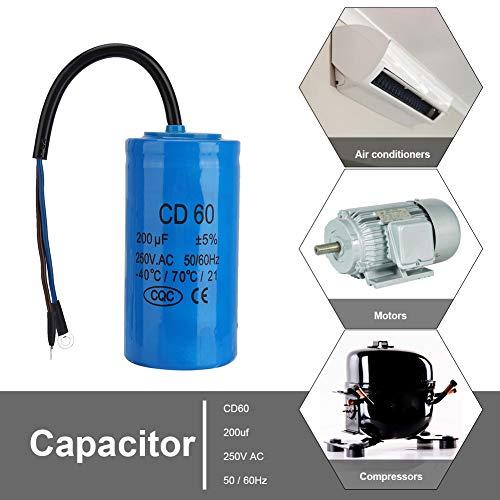 CD60 Kondensator 250V 200uf,Jectse Betriebskondensator Motorkondensator Anlaufkondensator mit guter Schlagfestigkeit, starke Überlastfähigkeit für Klimaanlagen, Kompressoren und Motoren (Kondensator Ac)