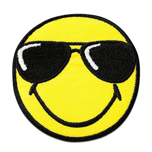 Aufnäher/Bügelbild - Smiley mit Sonnenbrille - gelb - Ø5,5cm - Patch Aufbügler Applikationen zum aufbügeln Applikation Patches Flicken