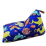 FELICIKK Forma de rectángulo de Silla de Bolsa de Frijol de Almacenamiento de Peluche Extra Grande con Mango 37 '' (Color : BLUE6)
