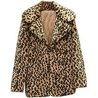 Luckycat Mujeres Casual Cálido Invierno Top Señoras Estampado Leopardo Jersey Prendas de Vestir Exteriores