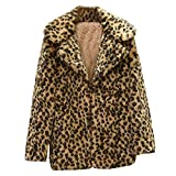 Clearance Womens Casual Coat Toamen Winter Faux Fur Lapel Leopard Print Warm Jacket
