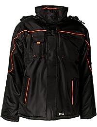 PLANAM Piper Jacke mit Kapuze - wetterfest - atmungsativ - wasserdicht - schwarz/orange - Größe: XS