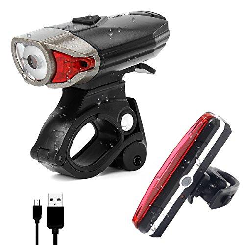 LED Stirnlampe Fahrradbeleuchtung Set, USB Wiederaufladbare Wasserdicht - Frontlicht und Rücklicht Fahrradlampe - 3 Licht-Modi für Radfahren, Camping und täglichen Gebrauch - Not Just A Gadget