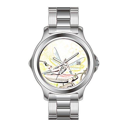 FDC Weihnachten Geschenk Uhren Damen Fashion Japanisches Quarz-Datum Edelstahl Armband Armbanduhr Beautiful Fairy Armbanduhr