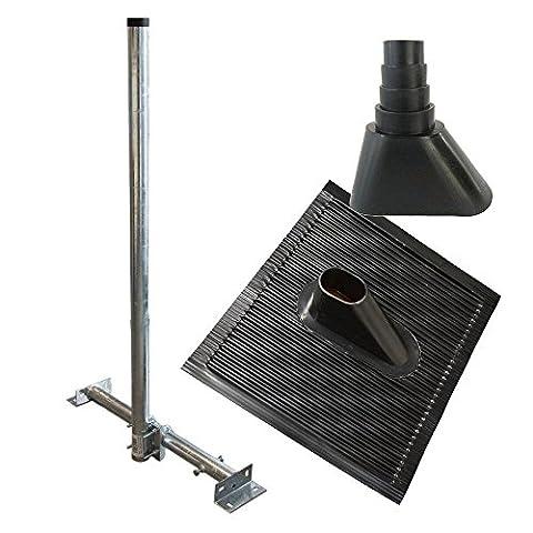 PremiumX Bundle SAT-Sparren-Montage Set Schwarz 120 cm Ø 48 mm Mast Stahl feuerverzinkt Dach Sparren Halter verstellbar 61 - 105 cm Aufsparrenhalter Untersparrenhalter Dachsparrenhalter Sparrenhalter mit Alu-Dachabdeckung