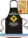 Bin am Grillen! Grillschürzen & Kochschürzen Bedruckte Fun Grillschürze Kochschürze aus 100% Baumwolle in Schwarz! von Soreso®