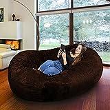 Riesiger Giga Sitzsack in Espresso mit Memory Schaumstoff Füllung und Waschbarem Velour Bezug - Gemütliches Sofa, Riesen Bett, Kuschelige Liege, Bean Bag für Kinder, Teenager und Erwachsene