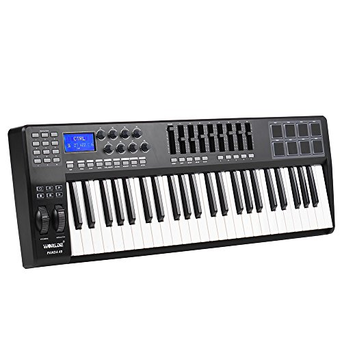 KKmoon PANDA49 49-Key USB MIDI Keyboard Controller 8 Drum Pads with USB Cable