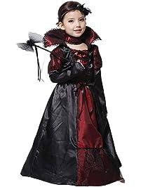 Wildlead - Vestido de Halloween para niñas, Disfraz de Reina de Vampiro para niños,